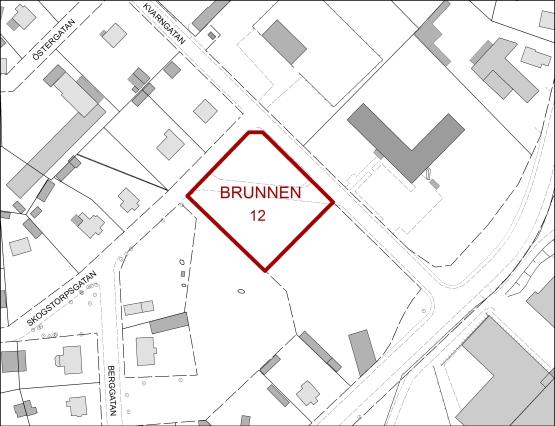 Tillgänglig mark för verksamheter i kvarteret Brunnen.