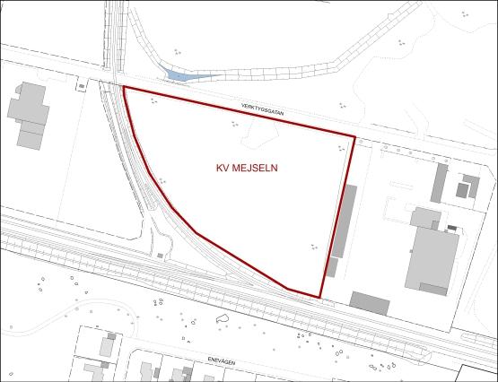 Tillgänglig mark för verksamheter i kvarteret Mejseln.