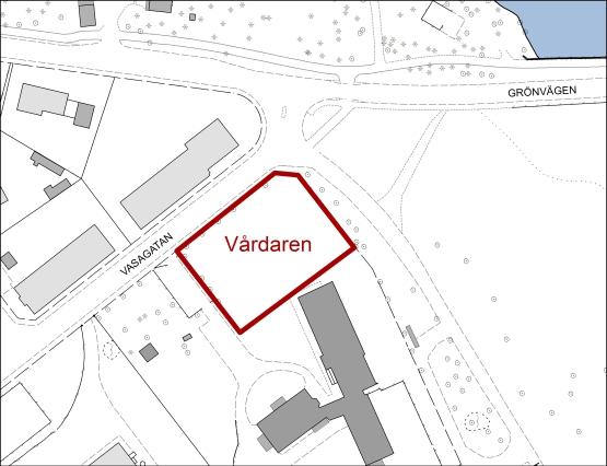 Tillgänglig mark för flerbostadshus i kvarteret Vårdaren.