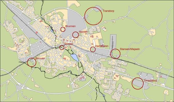 Översiktskarta för verksamhetsområden i Nybro stad