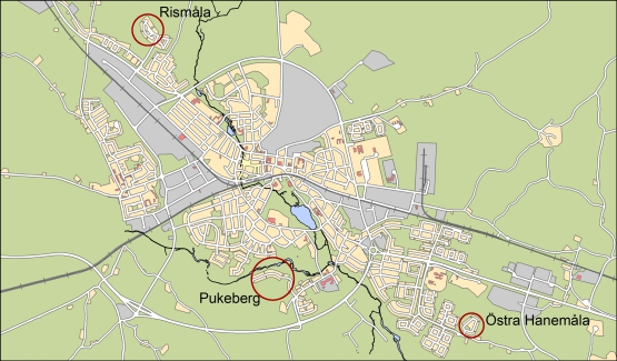 Översiktskarta för lediga tomter i Nybro stad