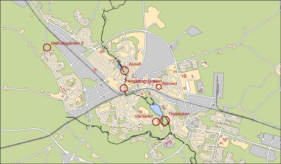Översiktskarta för områden avsedda för byggande av flerbostadshus i Nybro stad
