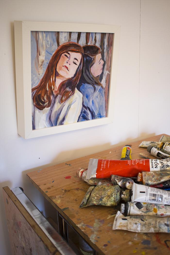 Tavla och utspridda färgtuber, Eva Sundmans ateljé