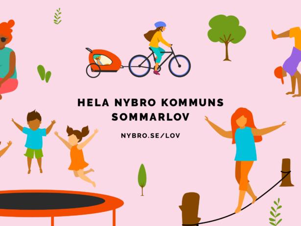 Barn som hoppar studsmatta, går på lina och åker i en cykelvagn, illustration.