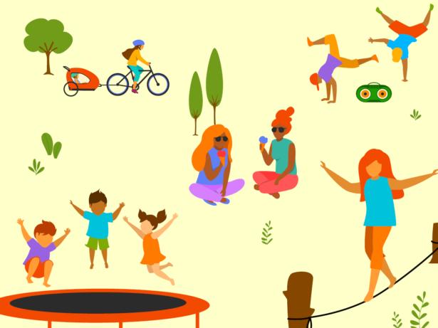 Illustrationer. Barn och unga gör olika aktiviteter utomhus.